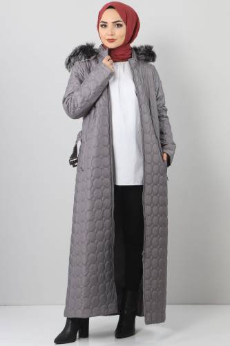 Tesettür Dünyası - Large size quilted coat TSD1566 gray