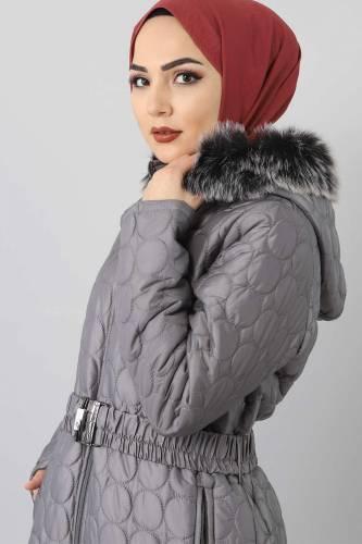 Tesettür Dünyası - Large size quilted coat TSD1566 gray (1)