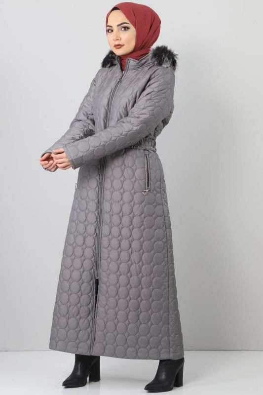 Large size quilted coat TSD1566 gray