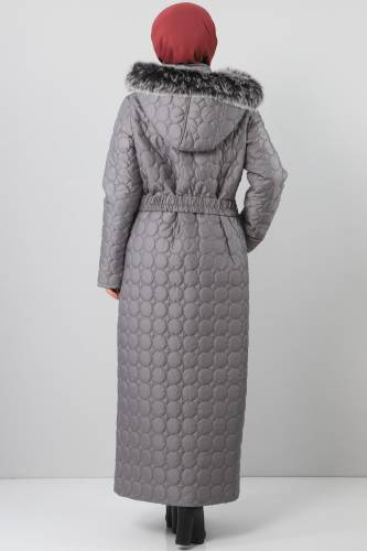 Large size quilted coat TSD1566 gray - Thumbnail