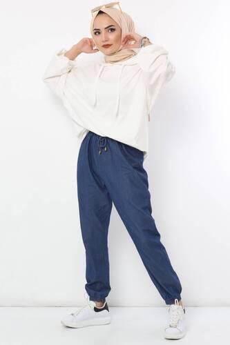 Tesettür Dünyası - Lastikli Kot Pantolon TSD0266 Koyu Mavi