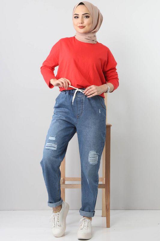 Lazerli Kot Pantolon TSD22011 Açık Mavi