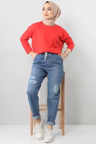Lazerli Kot Pantolon TSD22011 Açık Mavi - Thumbnail