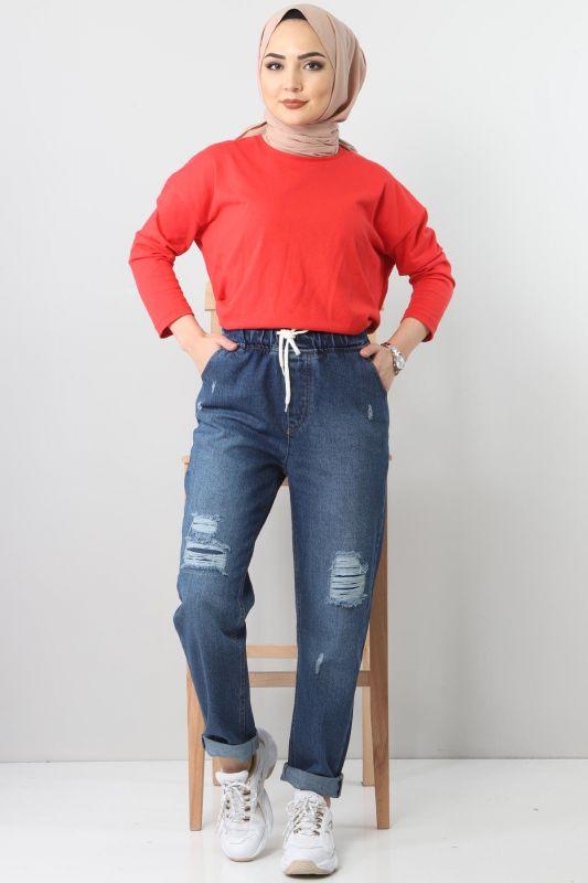 Lazerli Kot Pantolon TSD22011 Koyu Mavi