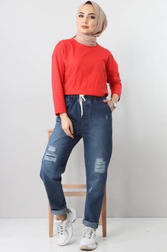 Lazerli Kot Pantolon TSD22011 Koyu Mavi - Thumbnail