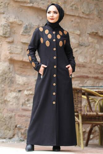 Leaf Patterned Cachet Coat TSD0225 Black - Thumbnail