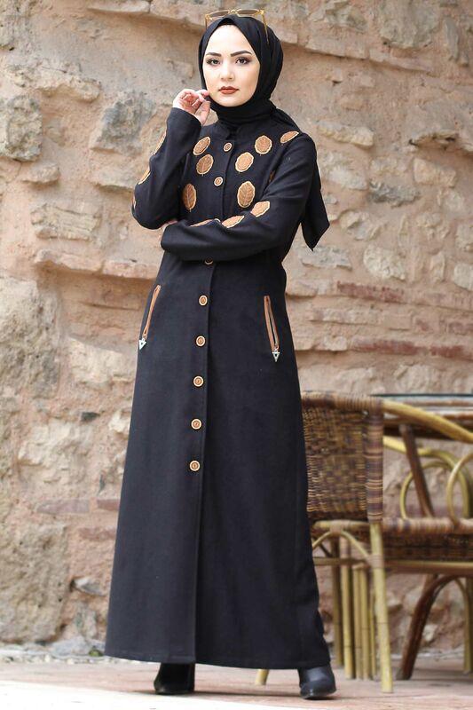 Leaf Patterned Cachet Coat TSD0225 Black