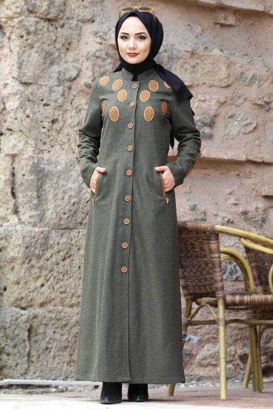 Leaf Patterned Cachet Coat TSD0225 Khaki