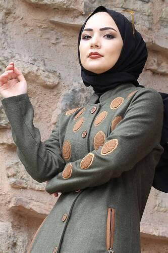 Leaf Patterned Cachet Coat TSD0225 Khaki - Thumbnail