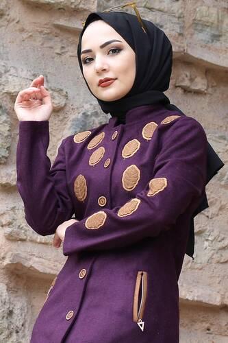 Leaf Patterned Cachet Coat TSD0225 Purple - Thumbnail