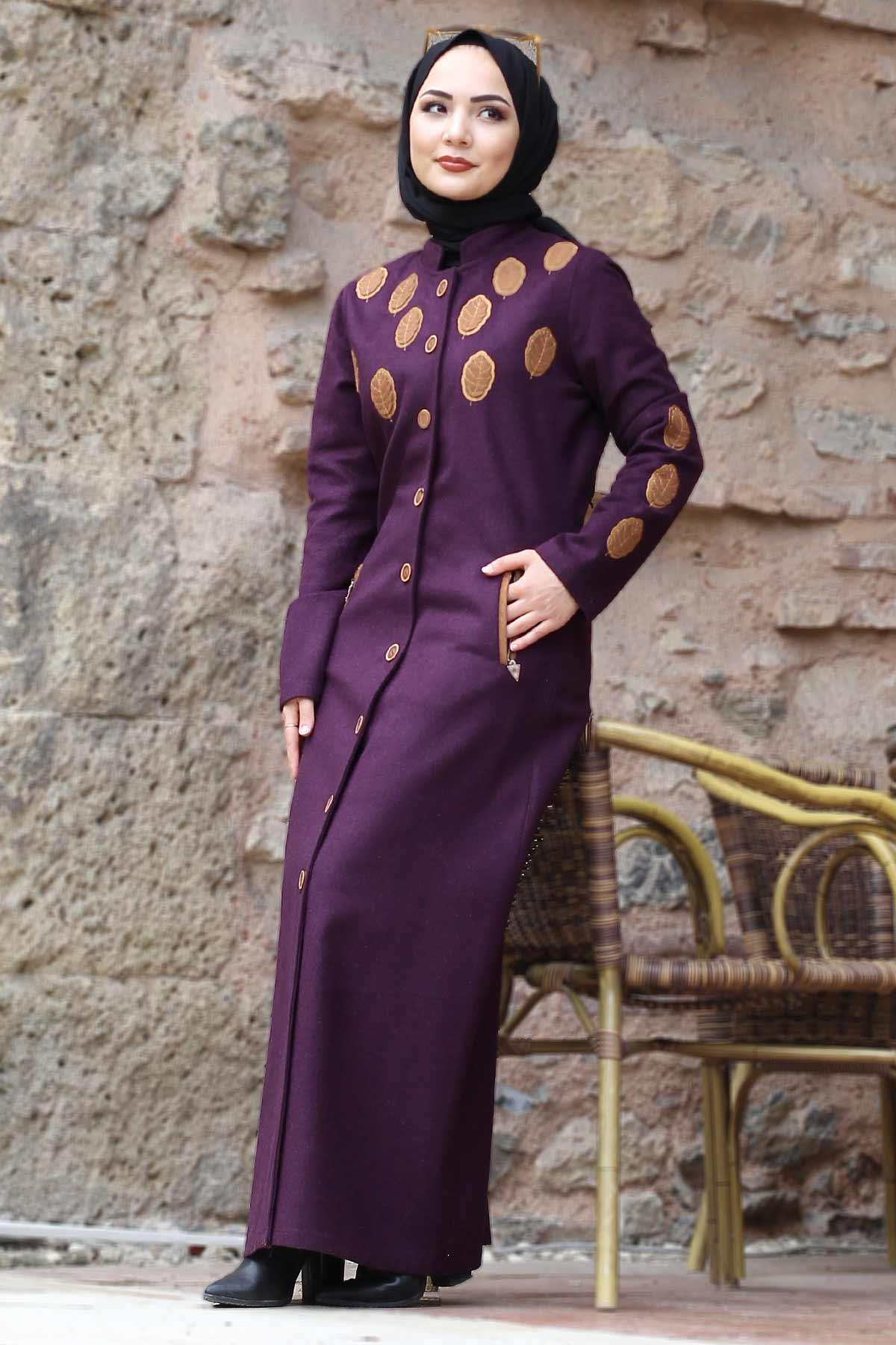 Leaf Patterned Cachet Coat TSD0225 Purple