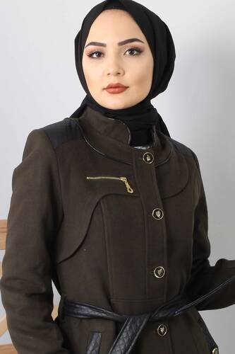 Tesettür Dünyası - Leather Detailed Cachet Coat GLN0263 Khaki (1)