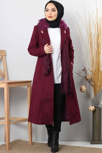 Tesettür Dünyası - Leather Detailed Cachet Coat GLN0263 plum