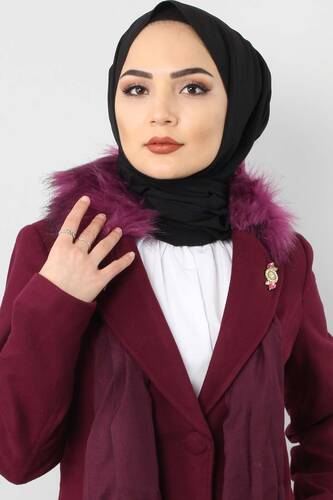 Tesettür Dünyası - Leather Detailed Cachet Coat GLN0263 plum (1)