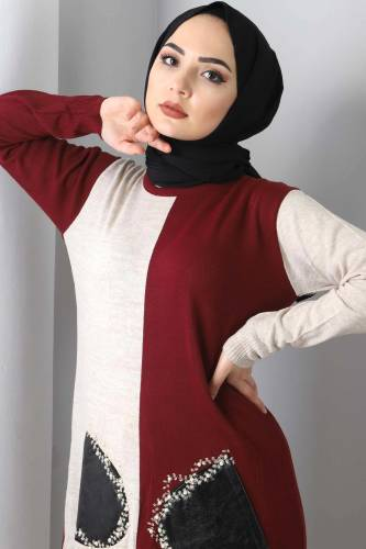 Leather Pocket Detailed Tricot Tunic TSD7022 Claret Red - Thumbnail