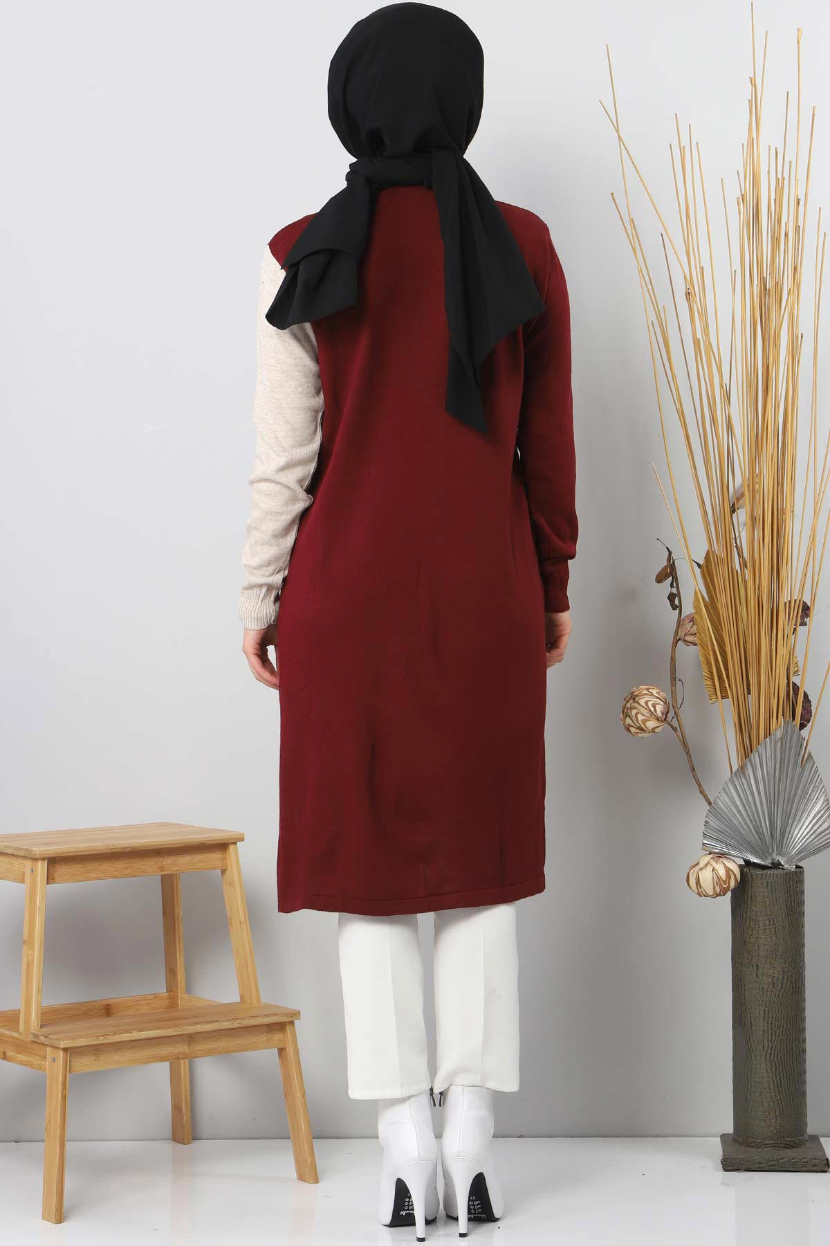 Leather Pocket Detailed Tricot Tunic TSD7022 Claret Red