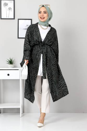 Leopar Desenli Kimono TSD3306 Yeşil - Thumbnail