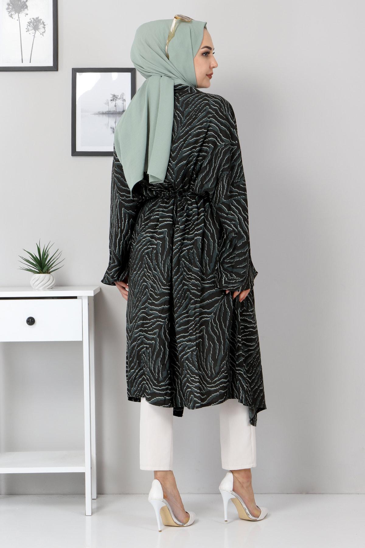 Leopar Desenli Kimono TSD3306 Yeşil