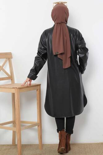 Long Leather Jacket TSD4151 Black - Thumbnail