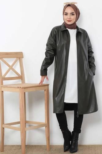 Long Leather Jacket TSD4151 Khaki - Thumbnail