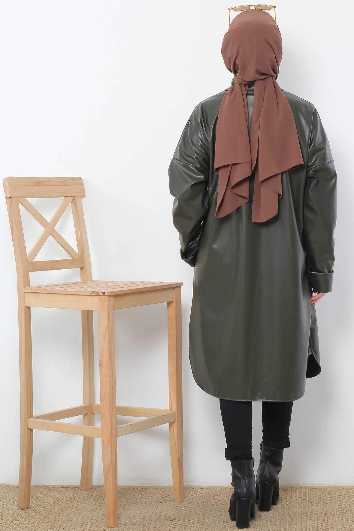 Long Leather Jacket TSD4151 Khaki