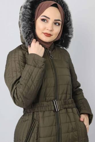 Tesettür Dünyası - Long padded coat TSD0887 Khaki (1)