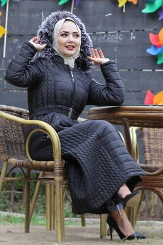 Long Quilted Coat TSD0783 Black - Thumbnail