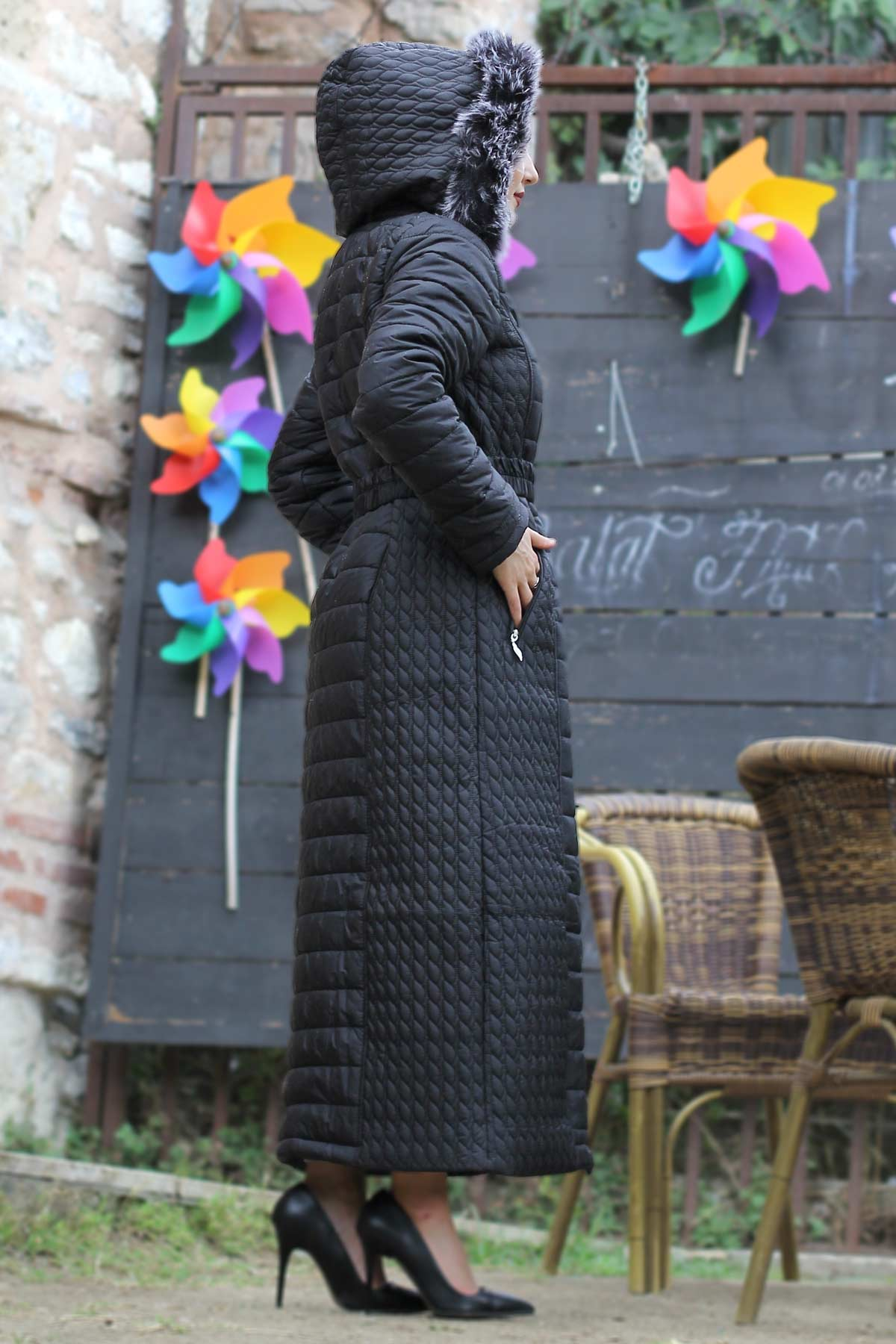 Long Quilted Coat TSD0783 Black