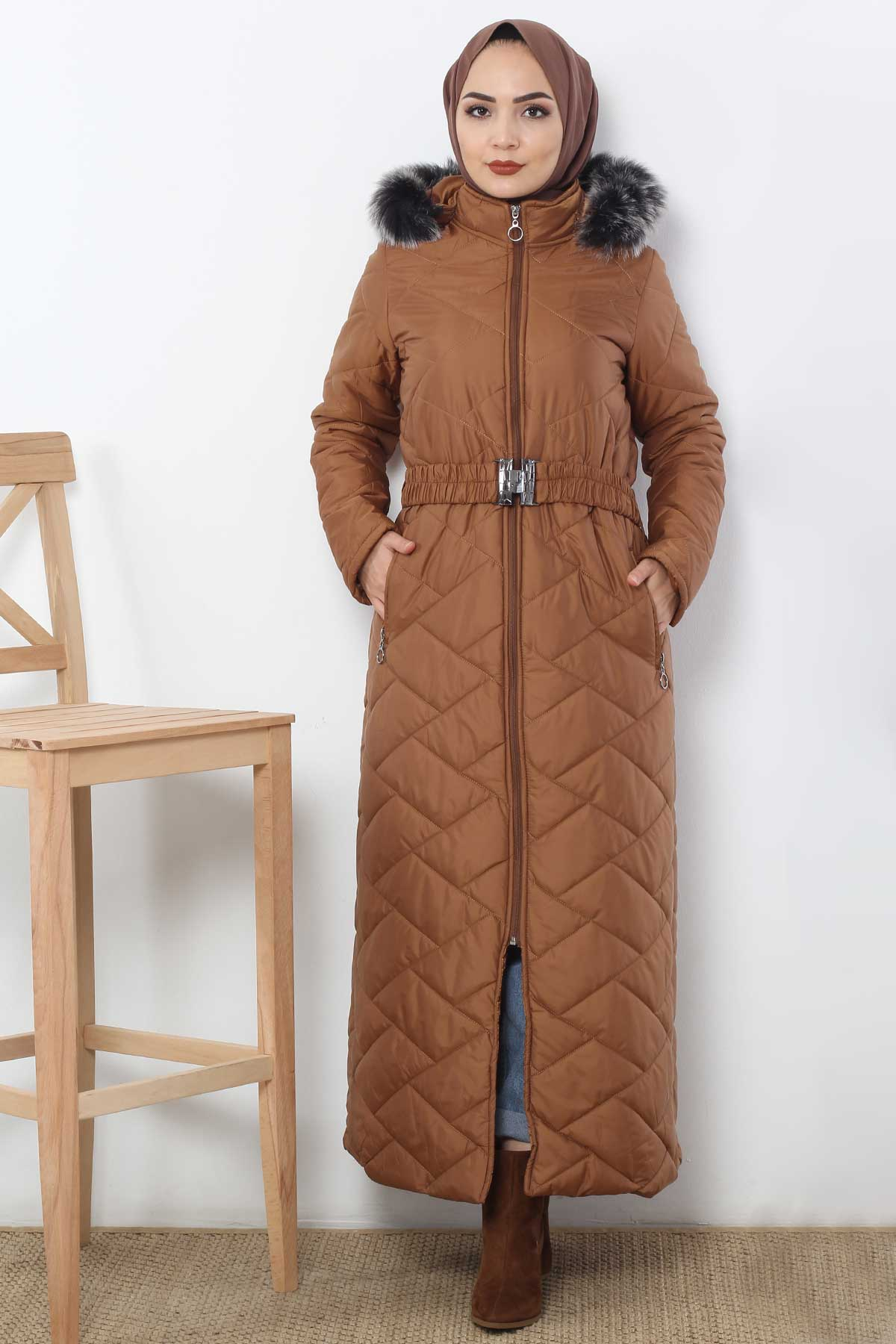 Long Quilted Coat TSD0795 Taba
