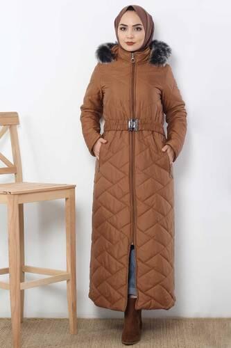 Long Quilted Coat TSD0795 Taba - Thumbnail