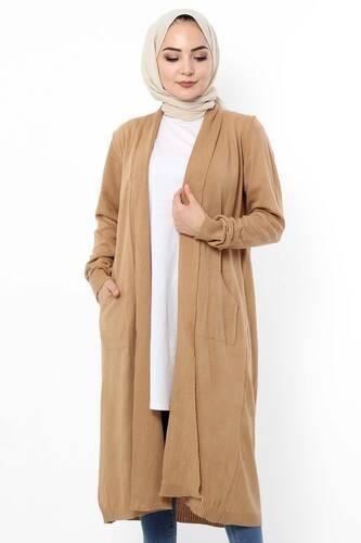 Long Shawl Collar Cardigan TSD9300 Camel - Thumbnail