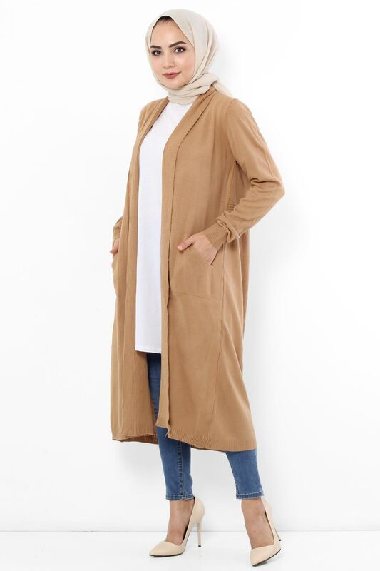 Long Shawl Collar Cardigan TSD9300 Camel
