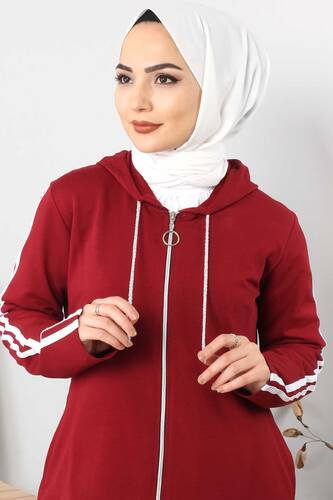 Tesettür Dünyası - Long Sweatshirt TSD0132 Dark Red (1)