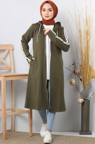 Long Sweatshirt TSD0132 Khaki - Thumbnail
