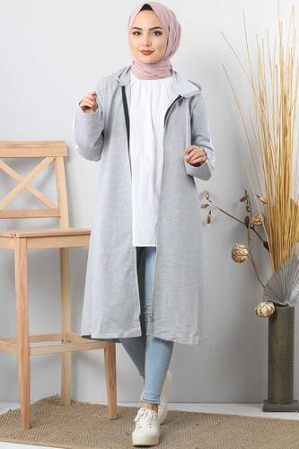 Tesettür Dünyası - Long Sweatshirt TSD0132 Light Gray