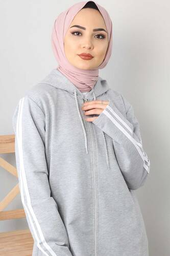 Tesettür Dünyası - Long Sweatshirt TSD0132 Light Gray (1)
