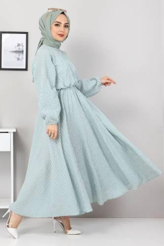 Tesettür Dünyası - Mevlana Elbise TSD4413 Mint Yeşili (1)
