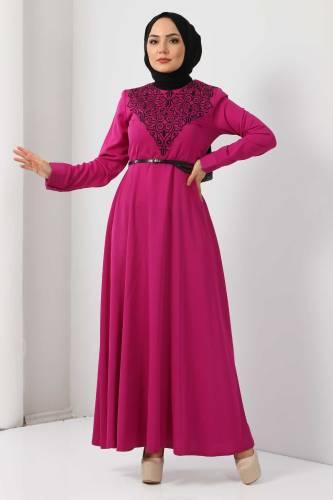 Tesettür Dünyası - Nakışlı Elbise TSD2068 Fuşya