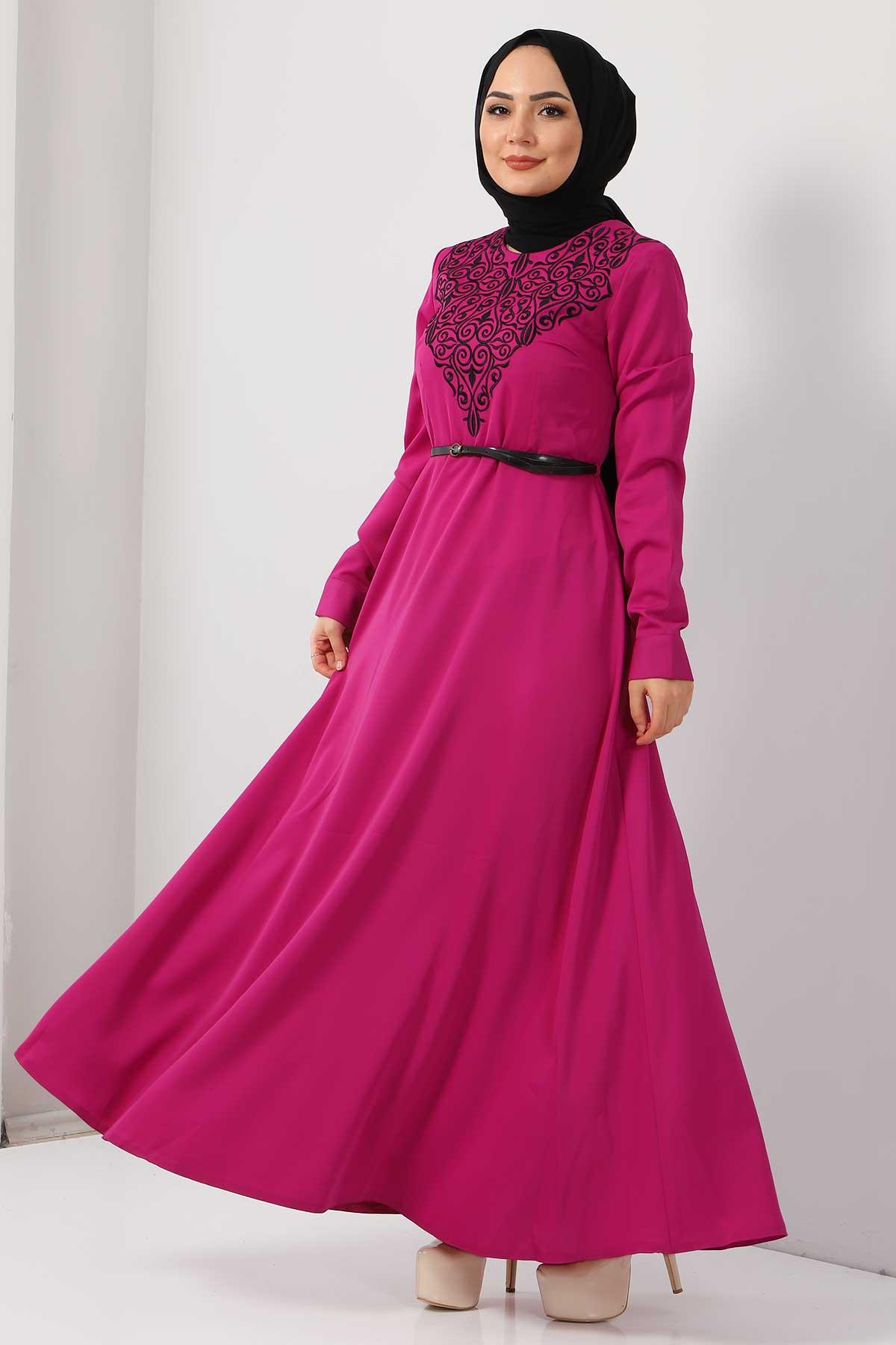 Nakışlı Elbise TSD2068 Fuşya
