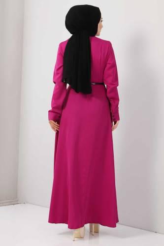 Nakışlı Elbise TSD2068 Fuşya - Thumbnail