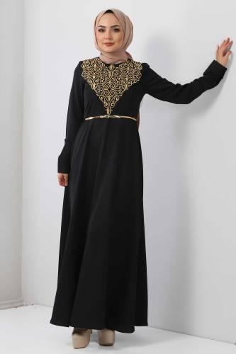 Tesettür Dünyası - Nakışlı Elbise TSD2068 Gold