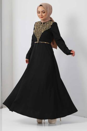 Tesettür Dünyası - Nakışlı Elbise TSD2068 Gold (1)