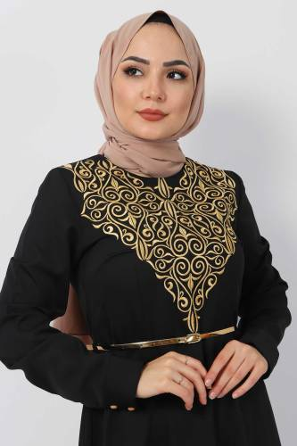 Nakışlı Elbise TSD2068 Gold - Thumbnail