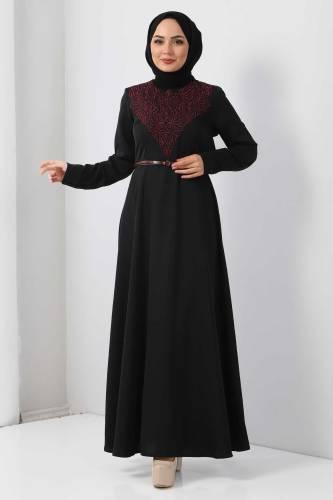 Tesettür Dünyası - Nakışlı Elbise TSD2068 Mürdüm