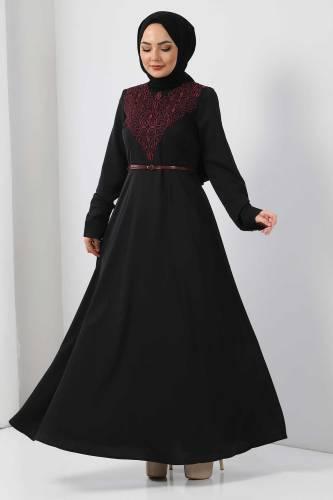Tesettür Dünyası - Nakışlı Elbise TSD2068 Mürdüm (1)