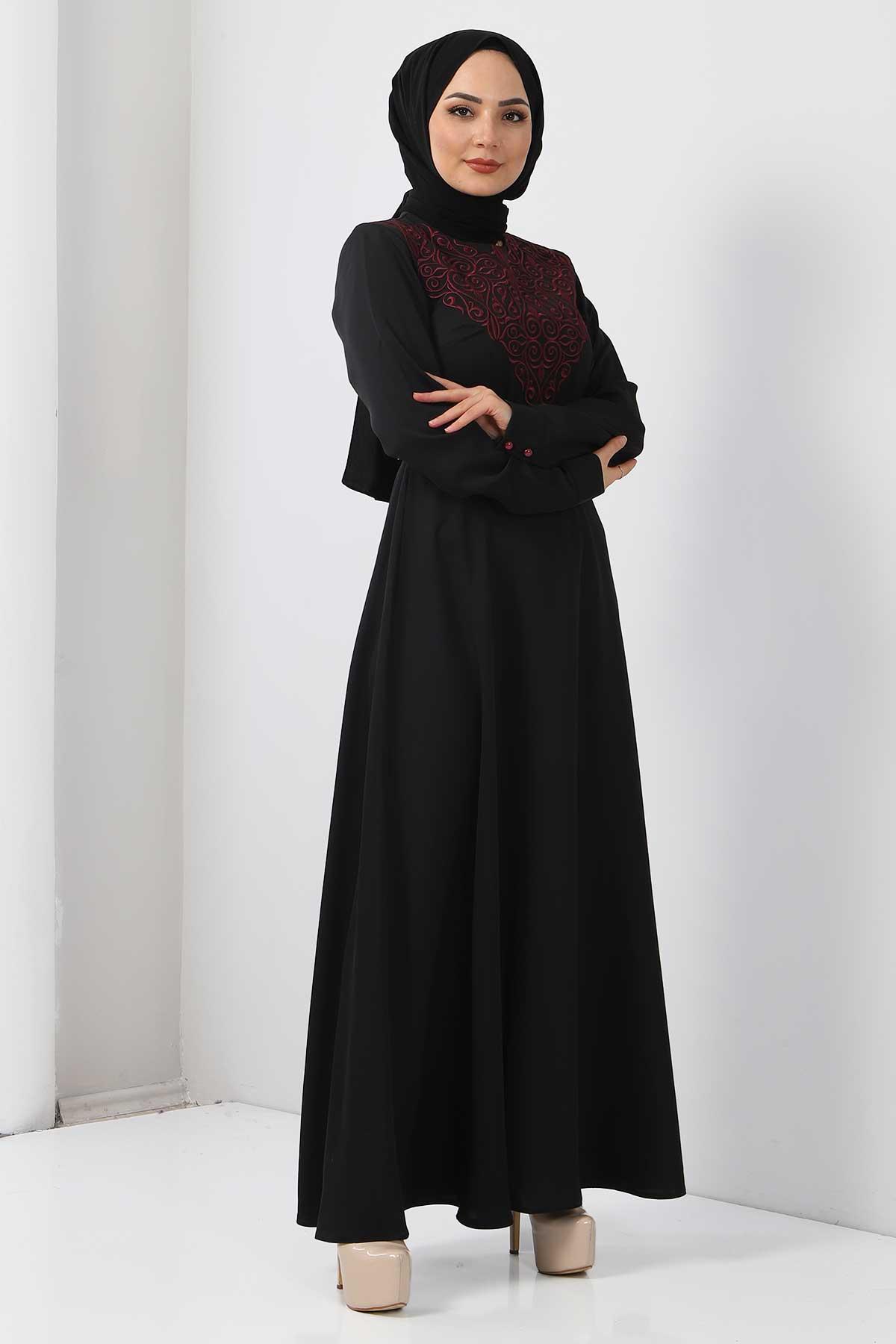 Nakışlı Elbise TSD2068 Mürdüm
