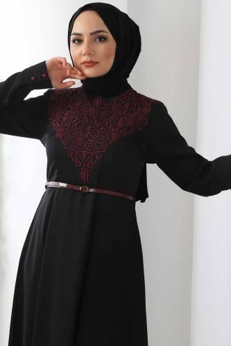 Nakışlı Elbise TSD2068 Mürdüm - Thumbnail