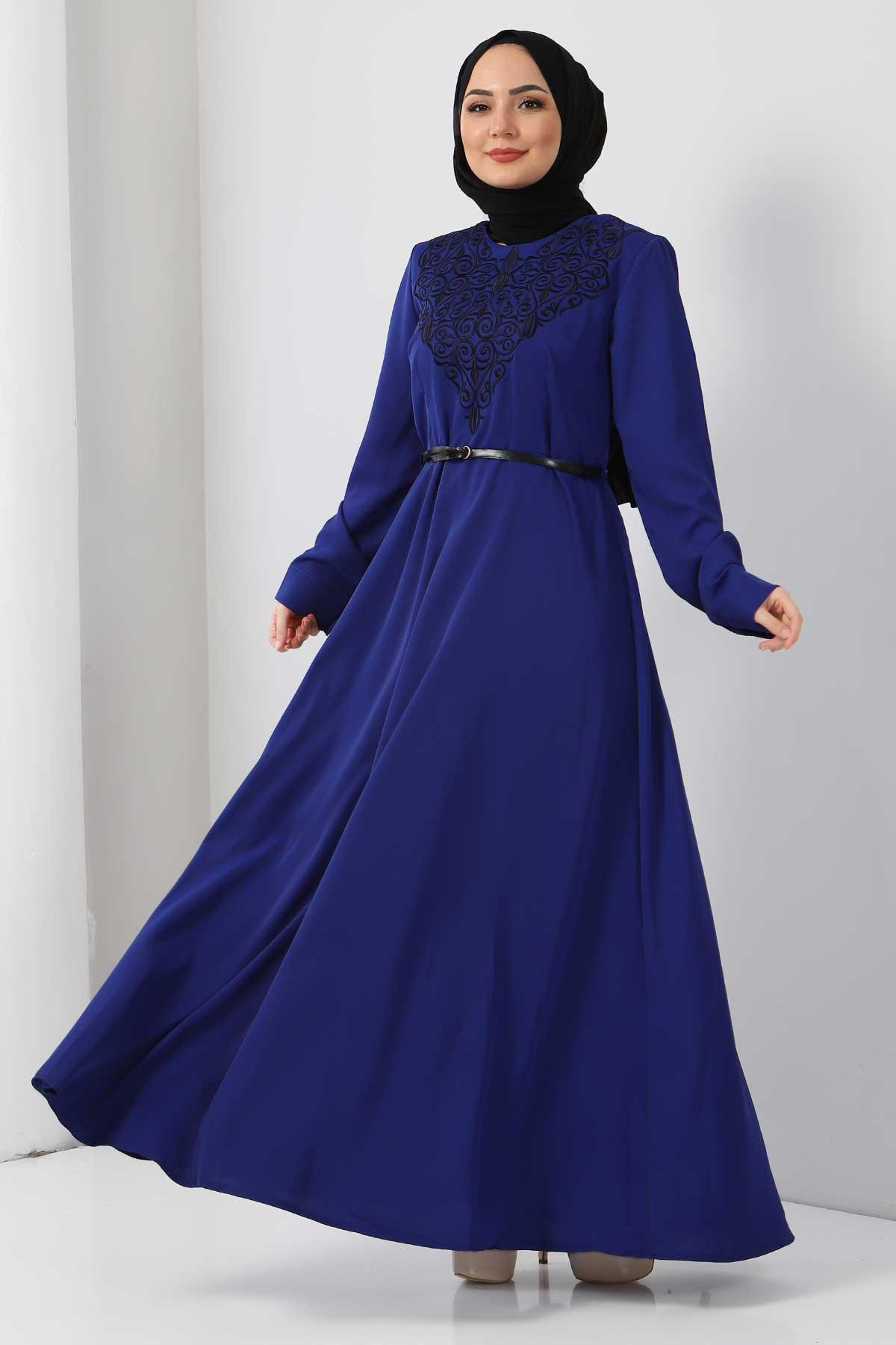 Nakışlı Elbise TSD2068 Saks Mavisi