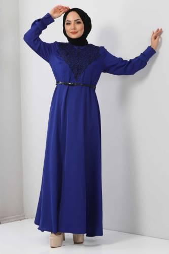 Tesettür Dünyası - Nakışlı Elbise TSD2068 Saks Mavisi