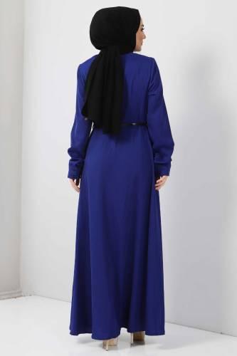Nakışlı Elbise TSD2068 Saks Mavisi - Thumbnail